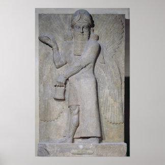飛んだ魔神を描写するレリーフ、浮き彫り ポスター