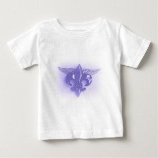 飛んだ(紋章の)フラ・ダ・リのバイオレット2500のプリント ベビーTシャツ