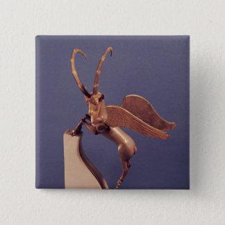 飛んだibexの形のつぼのハンドル 5.1cm 正方形バッジ