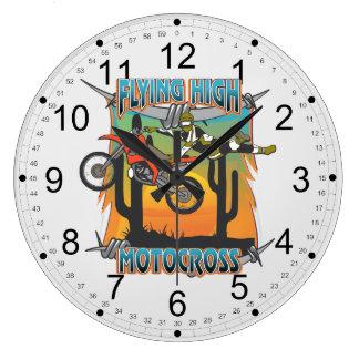 飛んでいるで高いモトクロス ラージ壁時計