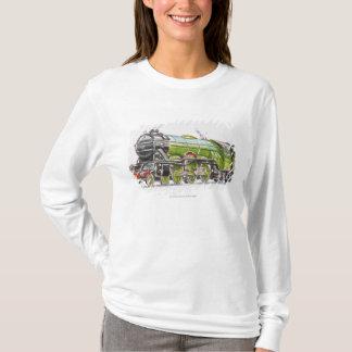 飛んでいるなスコットランド人の列車のイラストレーション Tシャツ
