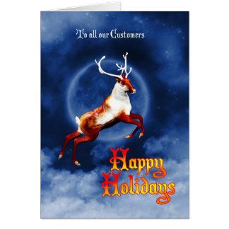 飛んでいるなトナカイが付いている幸せな休日の名刺 カード