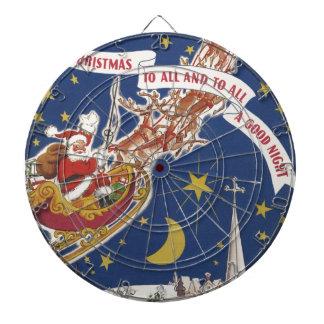 飛んでいるなトナカイとのヴィンテージのクリスマスサンタクロース ダーツボード