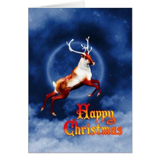 飛んでいるなトナカイとの楽しいクリスマス カード