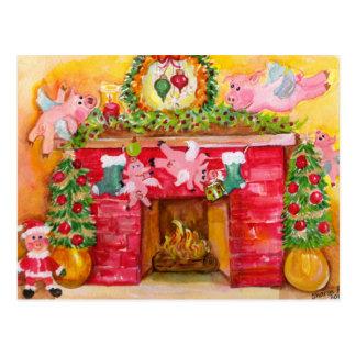飛んでいるなブタの郵便はがきを飾る2010年のクリスマス ポストカード