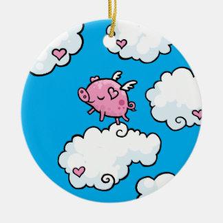 飛んでいるなブタは雲で踊ります セラミックオーナメント