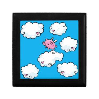 飛んでいるなブタは雲のギフト用の箱で踊ります ギフトボックス