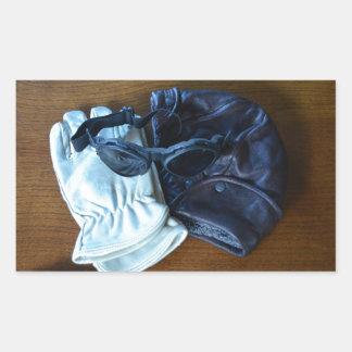 飛んでいるなヘルメット、ゴーグルおよび手袋 長方形シール