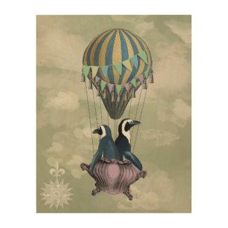 飛んでいるなペンギン ウッドウォールアート