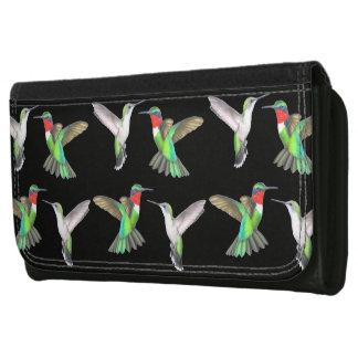 飛んでいるなルビー色のThroatedハチドリの革財布 レザーウォレット
