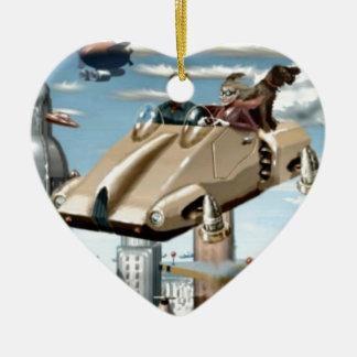 飛んでいるなレトロの未来の車 セラミックオーナメント