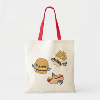 飛んでいるな昼食: ホットドッグ、フライドポテト及びハンバーガー トートバッグ