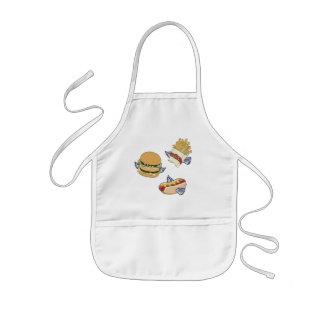 飛んでいるな昼食: ホットドッグ、フライドポテト及びハンバーガー 子供用エプロン