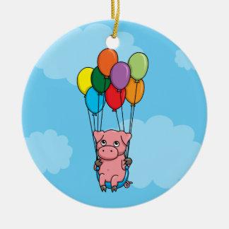 飛んでいるな気球のブタ セラミックオーナメント