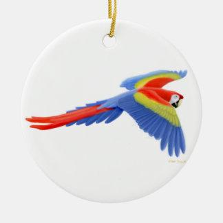 飛んでいるな深紅のコンゴウインコのオーナメント セラミックオーナメント