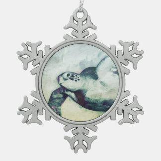 飛んでいるな緑のウミガメ|のオーナメント スノーフレークピューターオーナメント