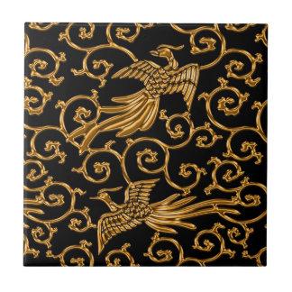 飛んでいるな金鳥のアラベスク タイル