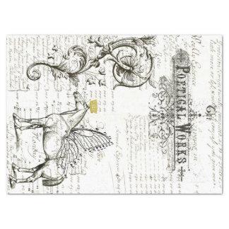飛んでいるな馬の原稿のデジタルコラージュのティッシュペーパー 薄葉紙