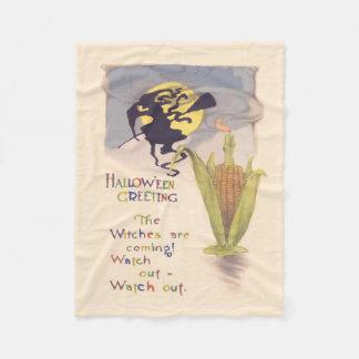 飛んでいるな魔法使いの満月のトウモロコシ穂軸の蝋燭 フリースブランケット