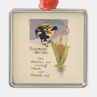 飛んでいるな魔法使いの満月のトウモロコシ穂軸の蝋燭 メタルオーナメント