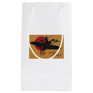 飛んでいるな魔法使いの黒猫の飛行機の満月 スモールペーパーバッグ