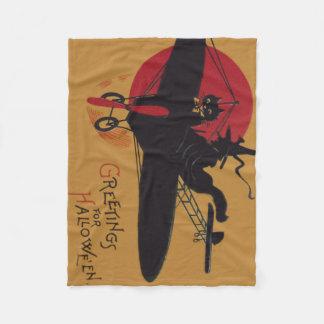 飛んでいるな魔法使いの黒猫の飛行機の満月 フリースブランケット
