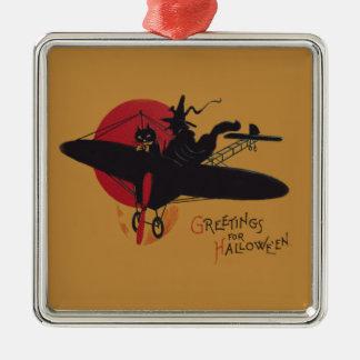 飛んでいるな魔法使いの黒猫の飛行機の満月 メタルオーナメント