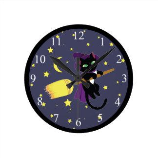 飛んでいるな魔法使い猫 ラウンド壁時計