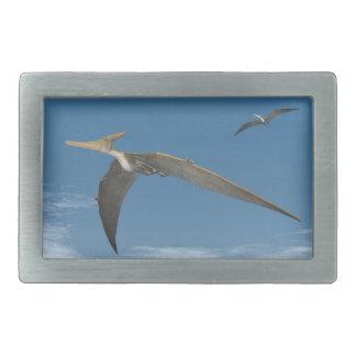 飛んでいるPteranodonの恐竜- 3Dは描写します 長方形ベルトバックル