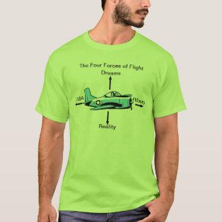 飛行おもしろいな航空ワイシャツの4つの力 Tシャツ