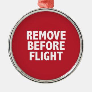 飛行の前に取除いて下さい メタルオーナメント
