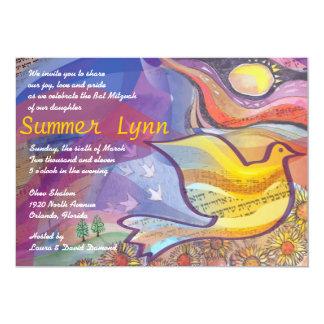 飛行の鳩のバルミツワーの音楽的な招待状 カード