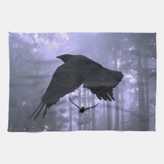 飛行ワタリガラス、森林及び不気味な目 キッチンタオル