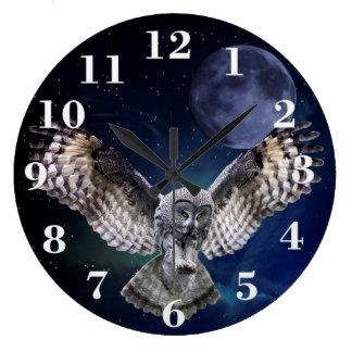 飛行中のフクロウ ラージ壁時計