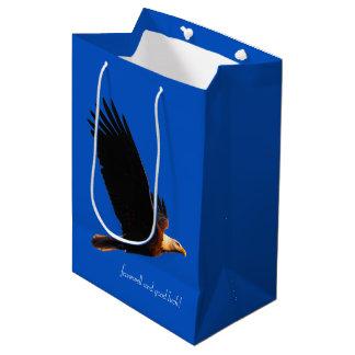 飛行中の白頭鷲の別れおよび幸運! ミディアムペーパーバッグ