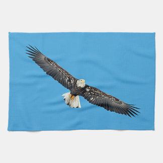 飛行中の白頭鷲 キッチンタオル
