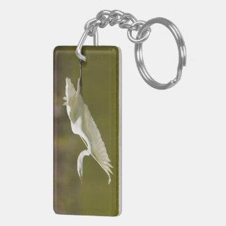 飛行中の白鷺 キーホルダー