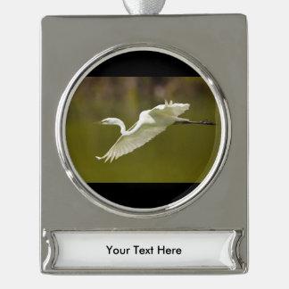 飛行中の白鷺 シルバープレートバナーオーナメント