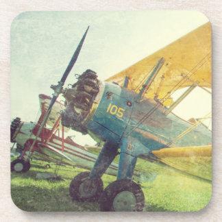 """""""飛行前の複葉機""""の飛行機のプラスチックコースター(6) コースター"""