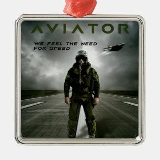 飛行士の戦闘機のパイロット メタルオーナメント