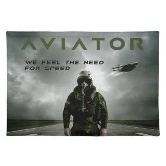 飛行士の戦闘機のパイロット ランチョンマット