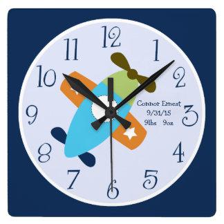 飛行柱時計を取る名前入りな飛行機 スクエア壁時計