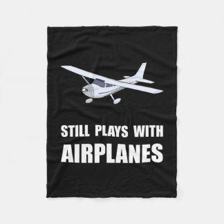 飛行機が付いている演劇 フリースブランケット