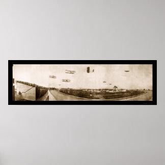 飛行機のインディアナポリスの写真1910年 ポスター