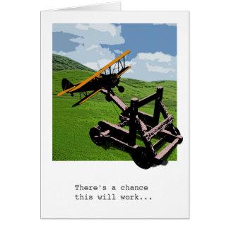 飛行機のカタパルトの告別/餞別カード カード
