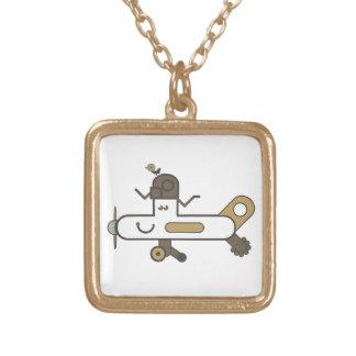 飛行機のネックレス ゴールドプレートネックレス