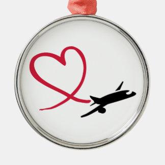 飛行機のハート愛 メタルオーナメント