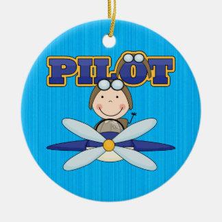飛行機のパイロット セラミックオーナメント