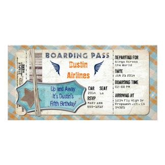 飛行機のパーティーの搭乗券 カード