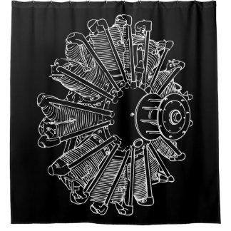 飛行機のピストン・エンジンの図表のシャワー・カーテン シャワーカーテン